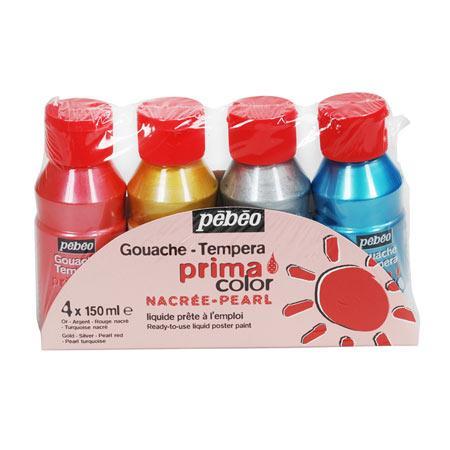Primacolor liquide - Assortiment de 4 flacons de 150 ml - Couleurs nacrées