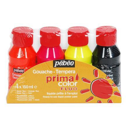Primacolor liquide - Assortiment de 4 flacons de 150 ml - Couleurs fluo + noir