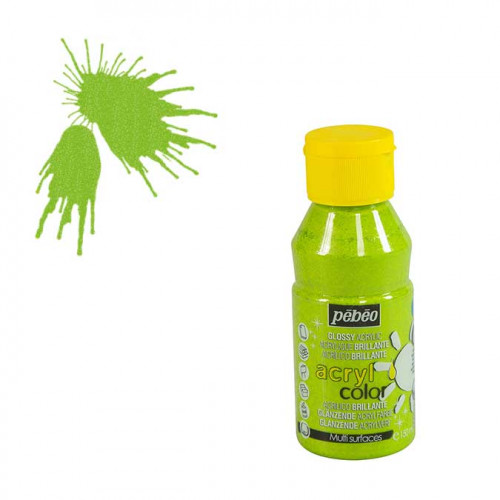 Peinture acrylique Acrylcolor pailletée vert clair - 150 ml