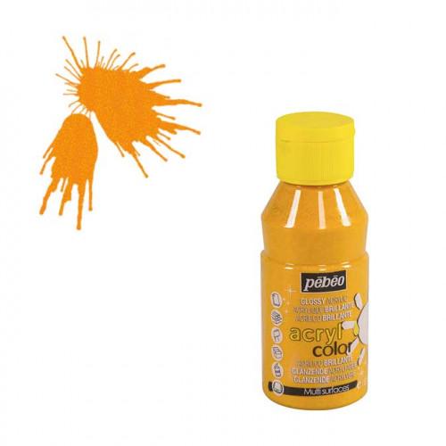 Peinture acrylique Acrylcolor pailletée jaune - 150 ml