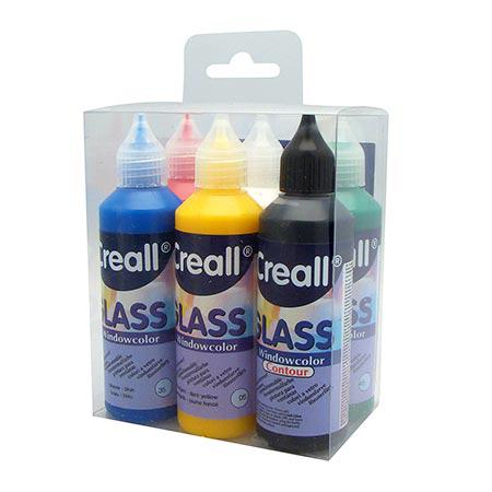 Creall Glass - Peinture repositionnable - Assortiment de 5 couleurs et un contour