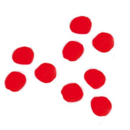 Pompons - Rouge - 1,5 cm - 60 pces
