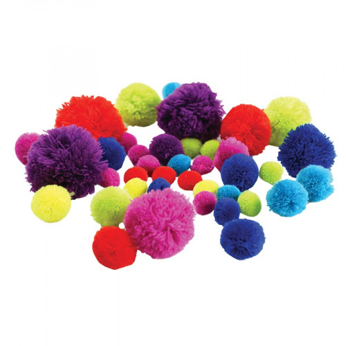 Pompons couleurs assorties - de 1,5 à 5,5 cm - 45 pcs