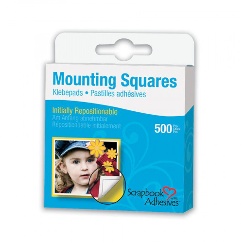 Mounting Squares - 500 Pastilles adhésives double-face - Blanc - colle repositionnable