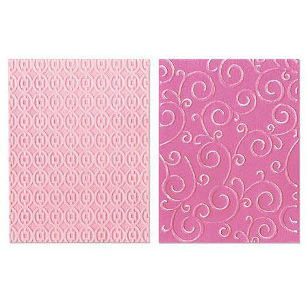 Textured Impressions Embossing Folders - Stephanie Barnard - Swirls & Squares in Ovals Set