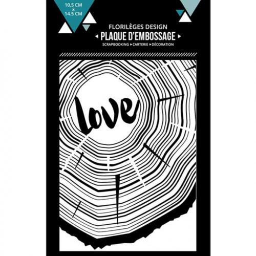 Plaque d'embossage De bois et d'amour - 10,5 x 14,5 cm