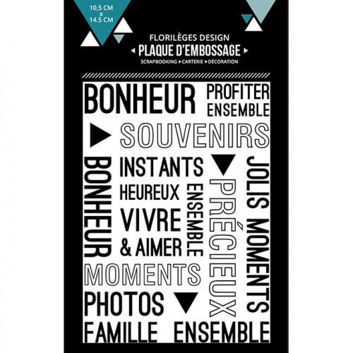 Plaque d'embossage Vivre et aimer - 10,5 x 14,5 cm