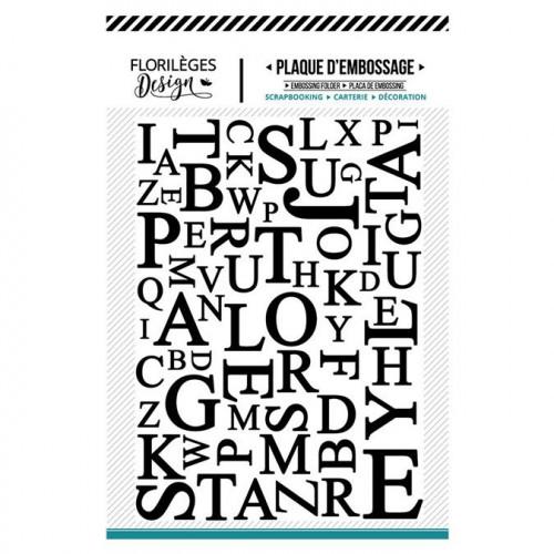 Plaque d'embossage Mix de lettres - 10,5 x 14,5 cm