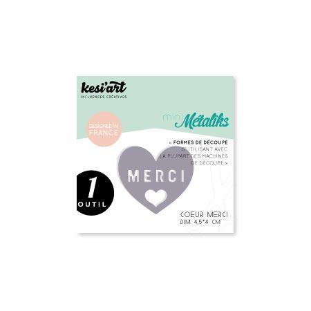 Forme de découpe - Mini Métaliks - Coeur Merci - 4,5 x 4 cm