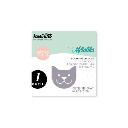 Forme de découpe - Mini Métaliks - Tête de chat - 3,2 x 3 cm