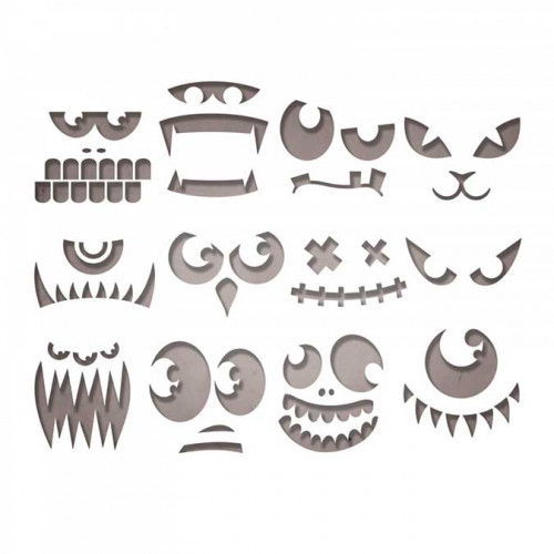 Thinlits Die Set Visages effrayants - 12 pcs