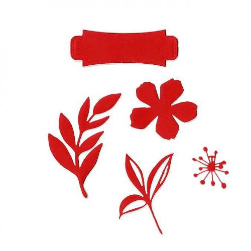 Die Set - Etiquette fleurie - 5 pcs