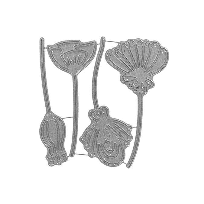 Matrices de découpe - Fleurs stylisées - 4 pcs