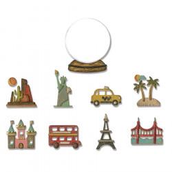 Thinlits Die Set Mini globe de voyage - 10 pcs