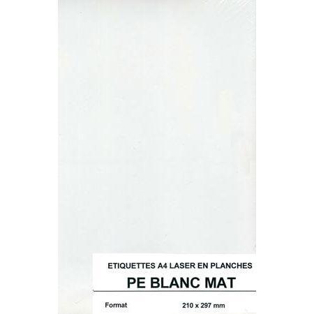 Etiquettes autocollantes - Polyethylène blanc A4