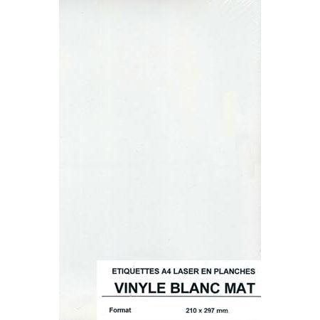 Etiquettes autocollantes - Vinyle blanc mat A4