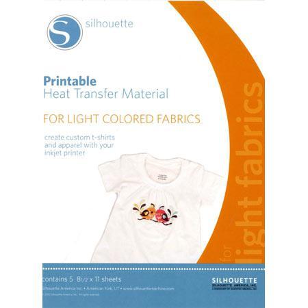 Feuilles transfert à chaud imprimable pour tissus clairs - 5 pcs