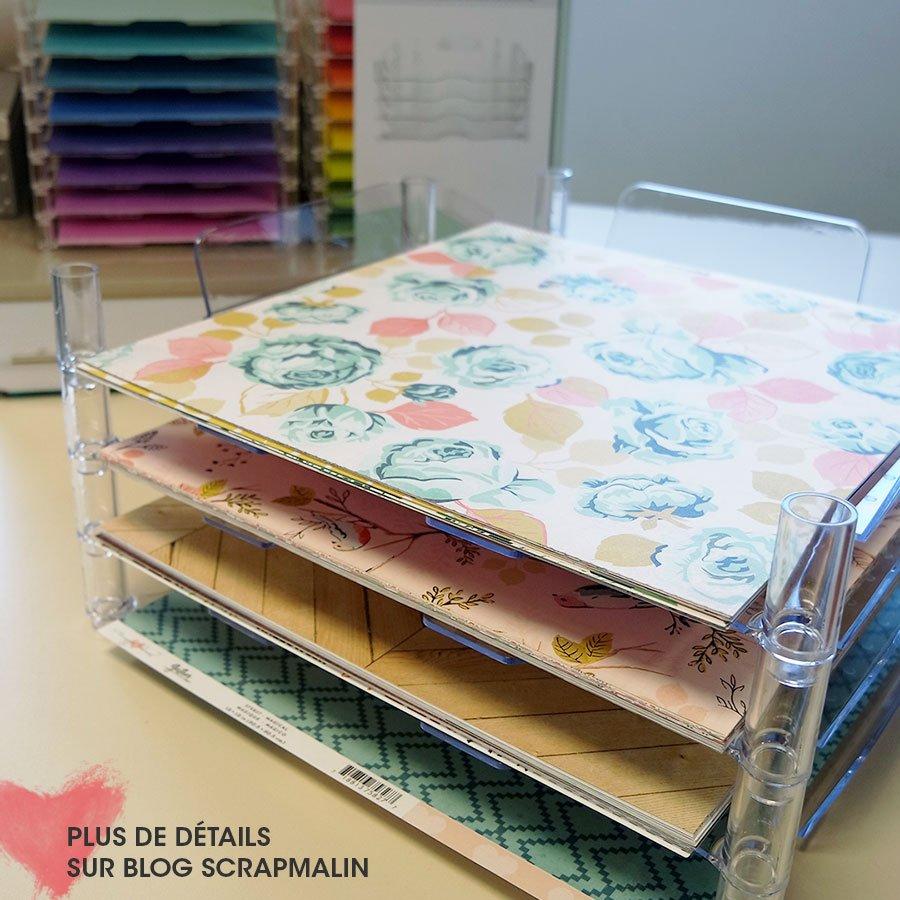 Bannettes empilables pour papier scrapbooking - 4 pcs