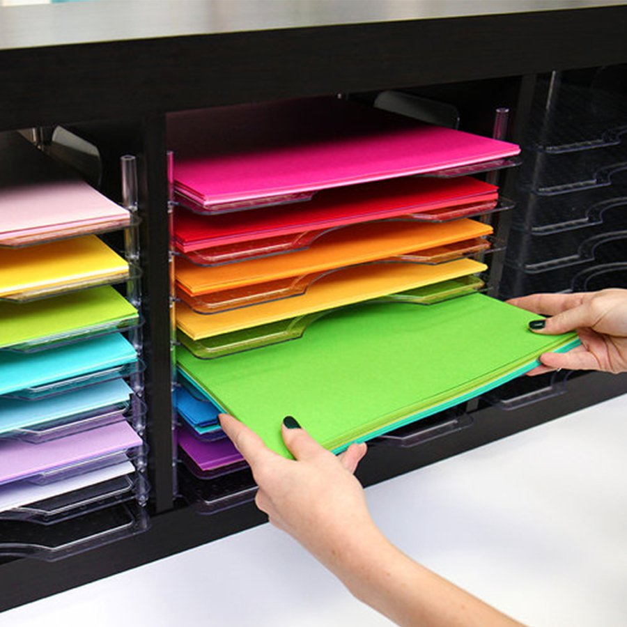 Bacs empilables pour papiers 30 x 30 cm - 4 pcs