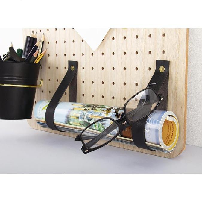 Bande en cuir synthétique Pin & Peg 138 x 2 cm - noir