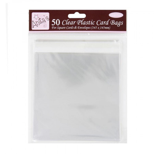 Clear Plastic Card Bags - Pochettes transparentes - 14,5 x 14,5 cm  - 50 pces