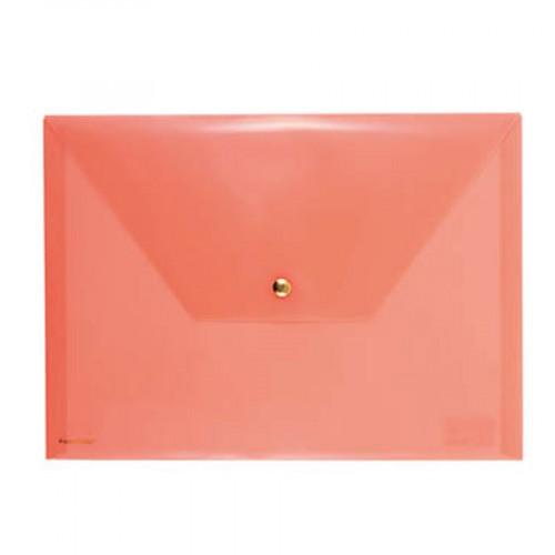 Pochette avec bouton pression - Orange fluo - 33 x 24 cm