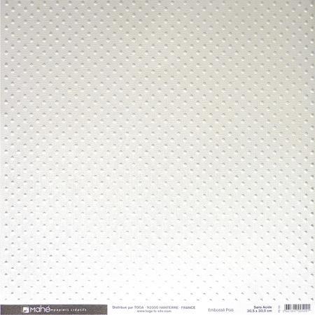 Papier embossé - Pois - blanc