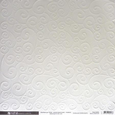 Papier embossé - Arabesques - blanc