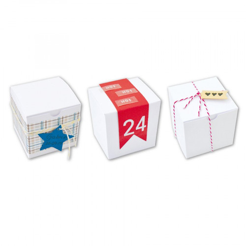 Boîtes cube - blanc -  5,5 x 5,5 cm - 6 pces