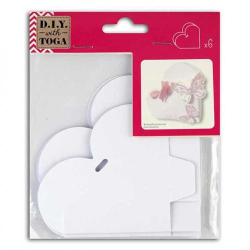 Boîtes Cœur en carton - à monter - blanc - 6 pcs
