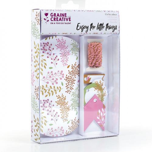 Boîtes cadeaux Pillow Box thème floral - 6 pcs