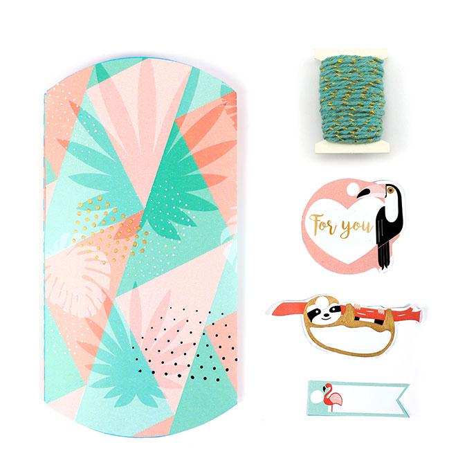 Boîtes cadeaux Pillow Box thème tropical - 6 pcs