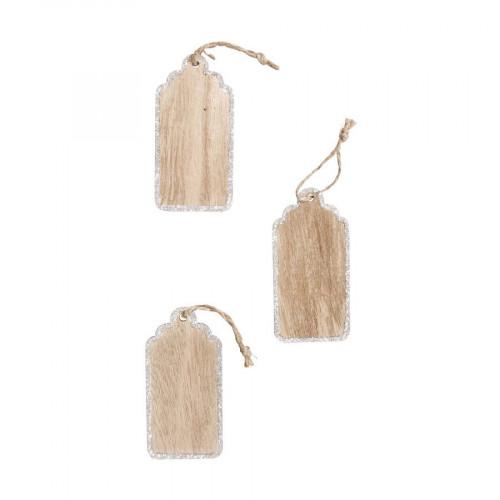 Etiquette en bois avec cordon - 4 x 8 cm - 3 pcs