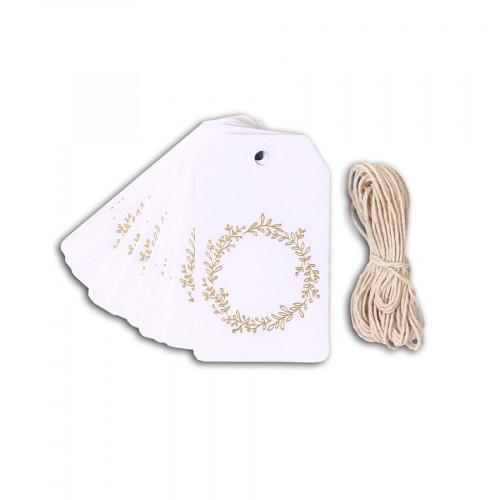 Etiquettes Couronne de Feuilles - blanc / or - 4,5 x 8 cm - 20 pcs