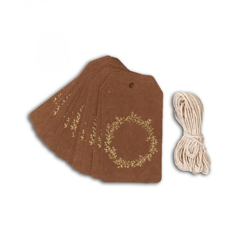Etiquettes Couronne de Feuilles - kraft / or - 4,5 x 8 cm - 20 pcs