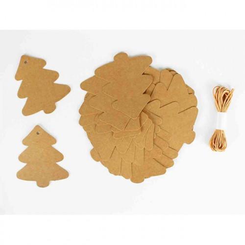 Etiquettes en forme de sapins - 8 x 7 cm - 20 pcs