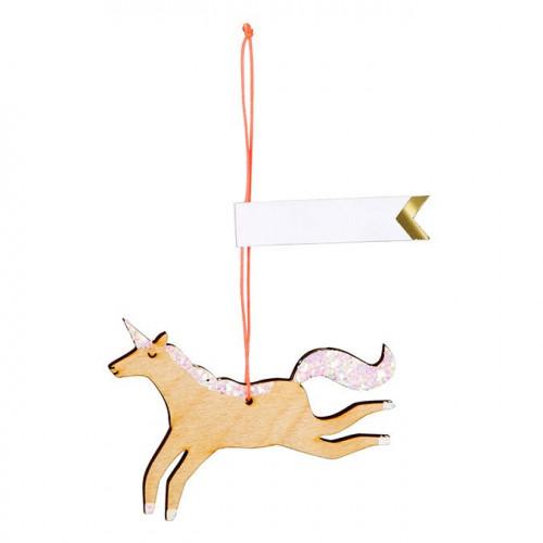 Etiquettes cadeau Licorne en bois - 8 pcs