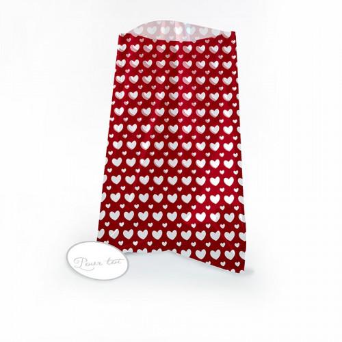 Lot de 12 sachets cadeau + étiquettes - Rouge à cœurs - 12 x 18 cm