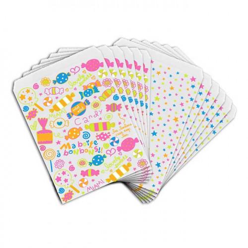Sachets papier - Bonbons / étoiles - 13 x 18 cm - 12 pcs