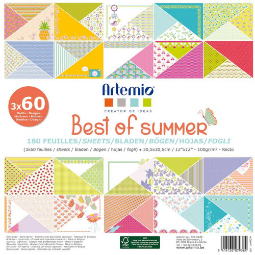 Best of Summer - Bloc de 180 feuilles - 30,5 x 30,5 cm