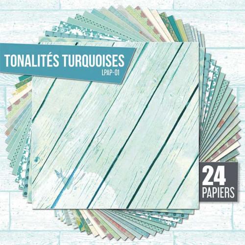Assortiment de 24 papiers Ambiance turquoise