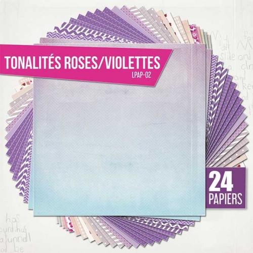 Assortiment de 24 papiers Ambiance violette