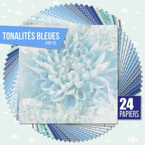 Assortiment de 24 papiers Ambiance bleue