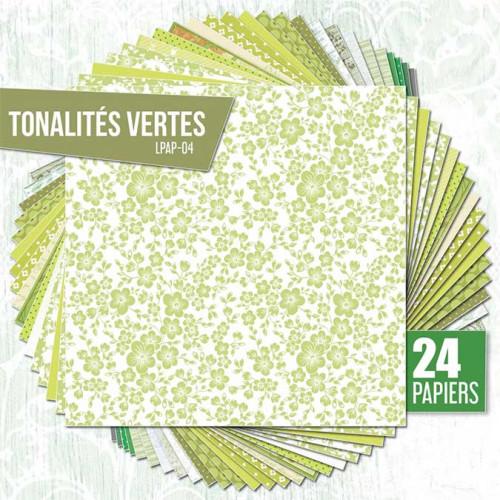 Assortiment de 24 papiers Ambiance verte