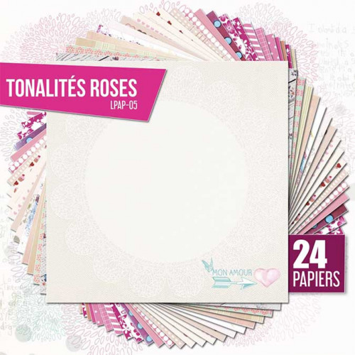 Assortiment de 24 papiers Ambiance rose
