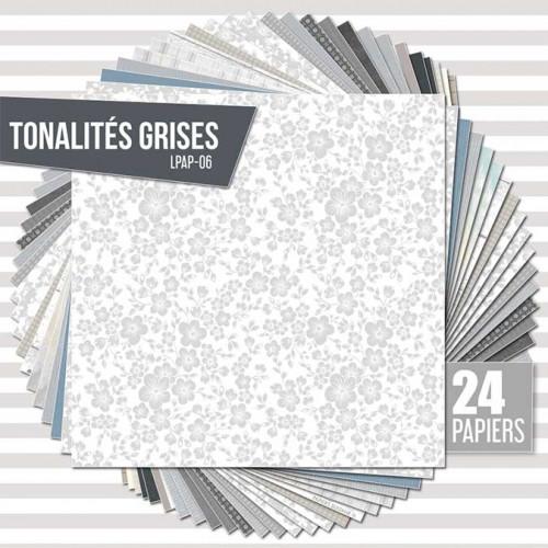 Assortiment de 24 papiers Ambiance grise