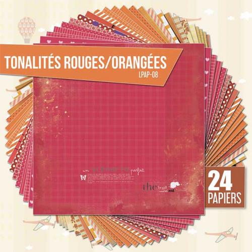 Assortiment de 24 papiers Ambiance rouge-orange