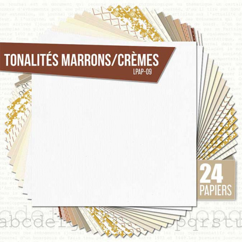 Assortiment de 24 papiers Ambiance brune / crème