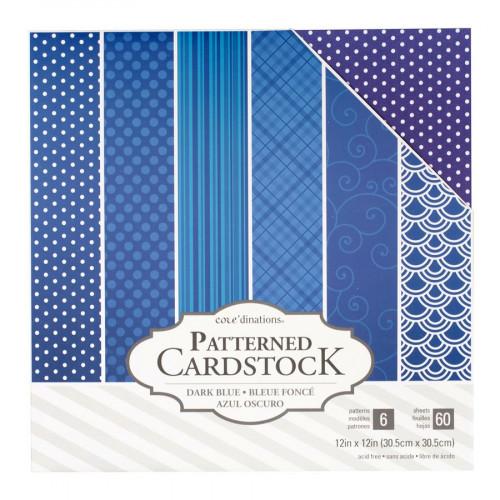 Core'dinations - Cardstock à motifs - bleu foncé - 60 feuilles