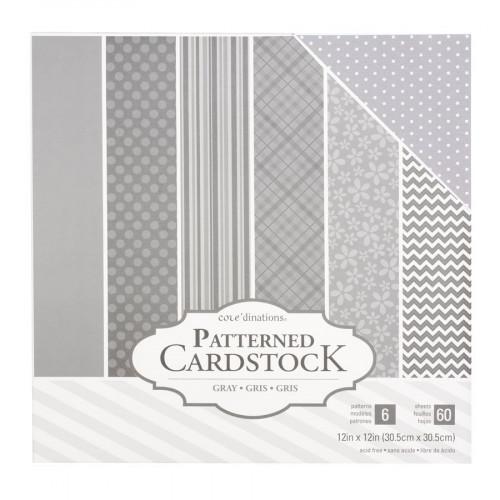 Core'dinations - Cardstock à motifs - gris - 60 feuilles